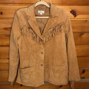 Denim& Co. 100% Leather Fringe Leather coat